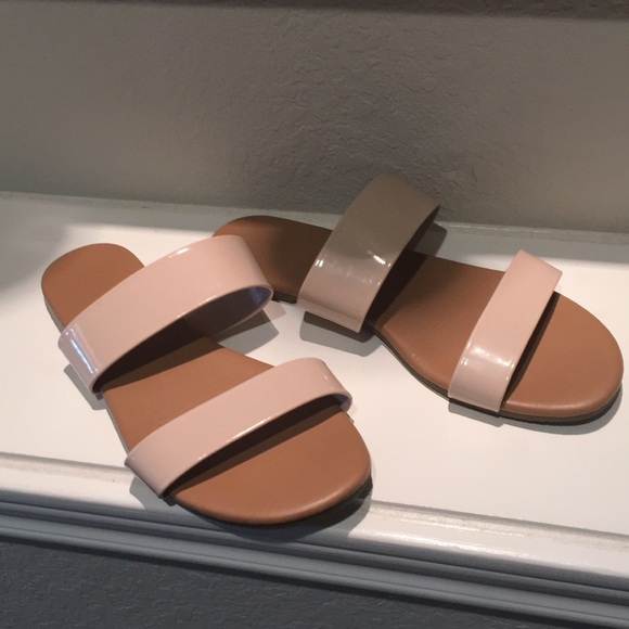 3321480f2b399 Size 6 patent leather nude strappy slide sandals